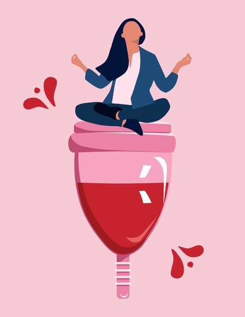 Girl sitting and meditating on big menstrual cup with blood.Pms, woman hygiene and healthcare concept.Vector in trendy style.Female periods and critical days.