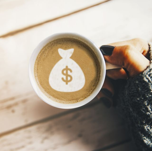 girl with a cup of coffee with a money bag symbol
