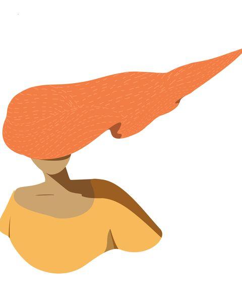 Girl with wavy orange hair