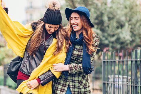 Street fashion, People, Yellow, Facial expression, Fashion, Fun, Smile, Friendship, Outerwear, Happy,