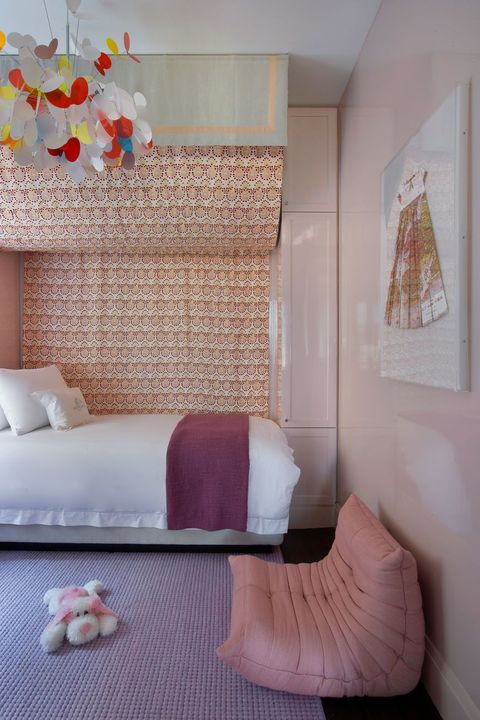 Room, Furniture, Bedroom, Pink, Interior design, Bed, Wall, Textile, House, Bed sheet,
