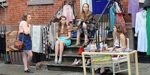 girls scene Lena Dunham, Allison Williams, Jemima Kirke and Zosia Mamet