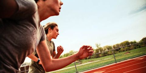 Finger, Track and field athletics, Sport venue, Race track, Summer, Interaction, Playing sports, Muscle, Thigh, Athlete,