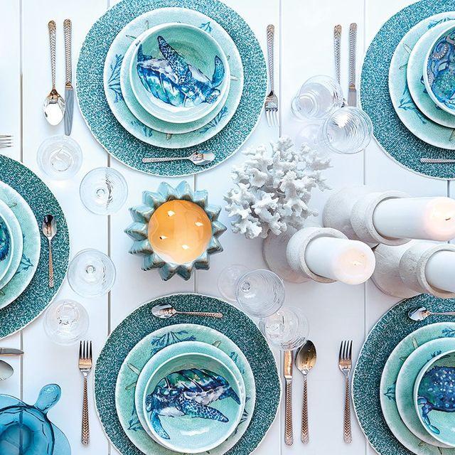 Blue, Turquoise, Aqua, Dishware, Plate, Dinnerware set, Circle, Tableware, Turquoise, Porcelain,