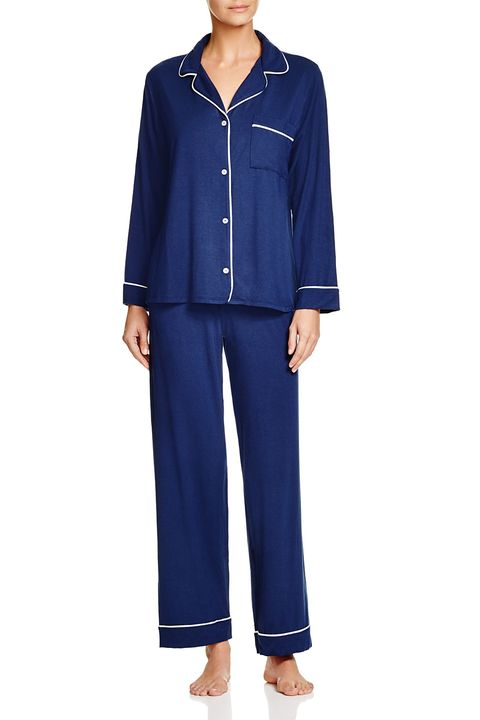 Clothing, Blue, Sleeve, Pajamas, Electric blue, Nightwear, Collar, Trousers, Active pants, sweatpant,