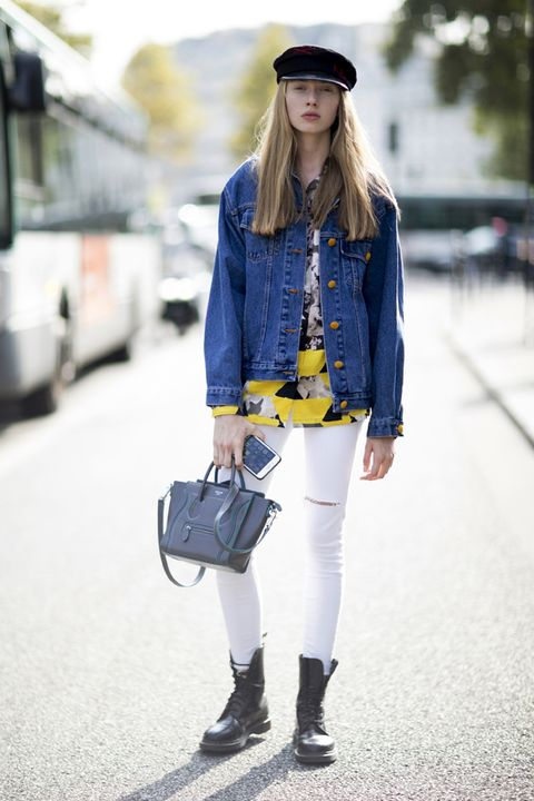 Giubbino jeans street style Parigi