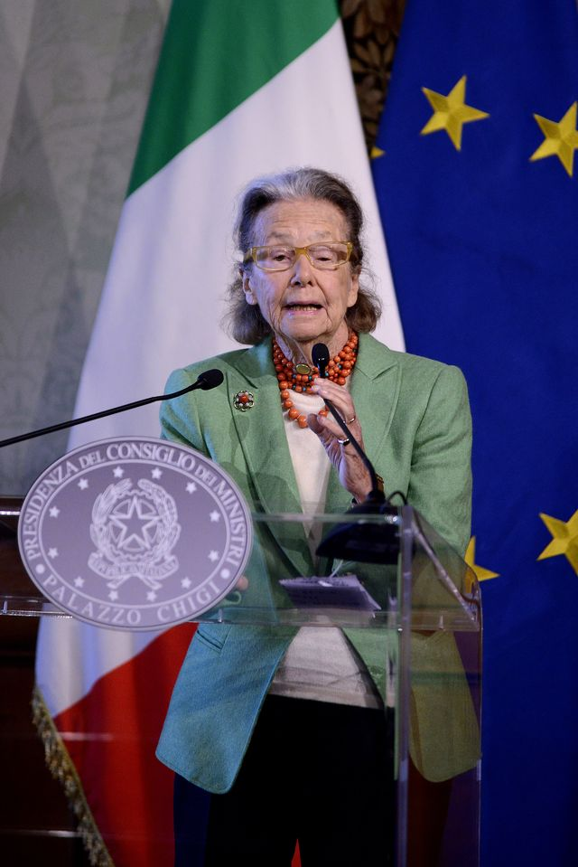 rome, italy   march 14 giulia maria crespi, honorary president fai during the presentation of the 25th edition of spring days of fai italian environment fundon march 14, 2017 in rome, italy  photo by simona granaticorbis via getty images
