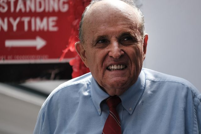 new york, new york   june 21 former new york city mayor rudy giuliani makes an appearance in support of fellow republican curtis sliwa who is running for nyc mayor on june 21, 2021 in new york city the guardian angels founder has said he will rollback bail reforms, support police and keep rikers island open rather than following the current plans to close it sliwa is running against fernando mateo, president of the new york state federation of taxi drivers with the winner facing off against the winner of the democratic primary photo by spencer plattgetty images
