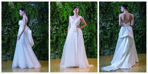 Gown, Clothing, Wedding dress, Dress, Bridal clothing, Shoulder, Bridal party dress, Bride, A-line, Fashion model,