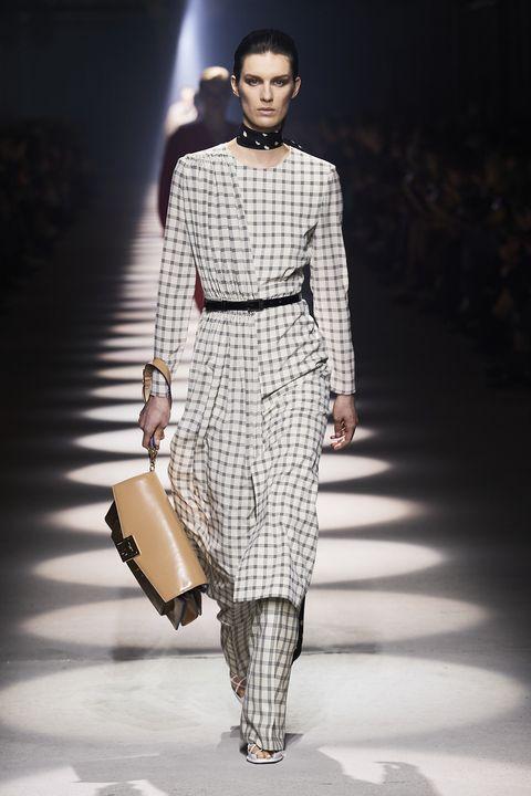 Fashion model, Fashion, Fashion show, Runway, Clothing, Fashion design, Haute couture, Dress, Shoulder, Human,