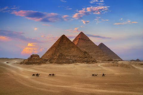 giza egypt pyramids in sunset scene, wonders of the world