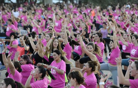 Crowd, People, Pink, Cheering, Audience, Event, Youth, Spring, Magenta, Leisure,