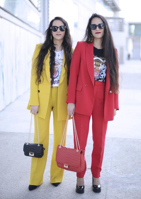 Clothing, Street fashion, White, Pink, Yellow, Blazer, Fashion, Red, Outerwear, Snapshot,