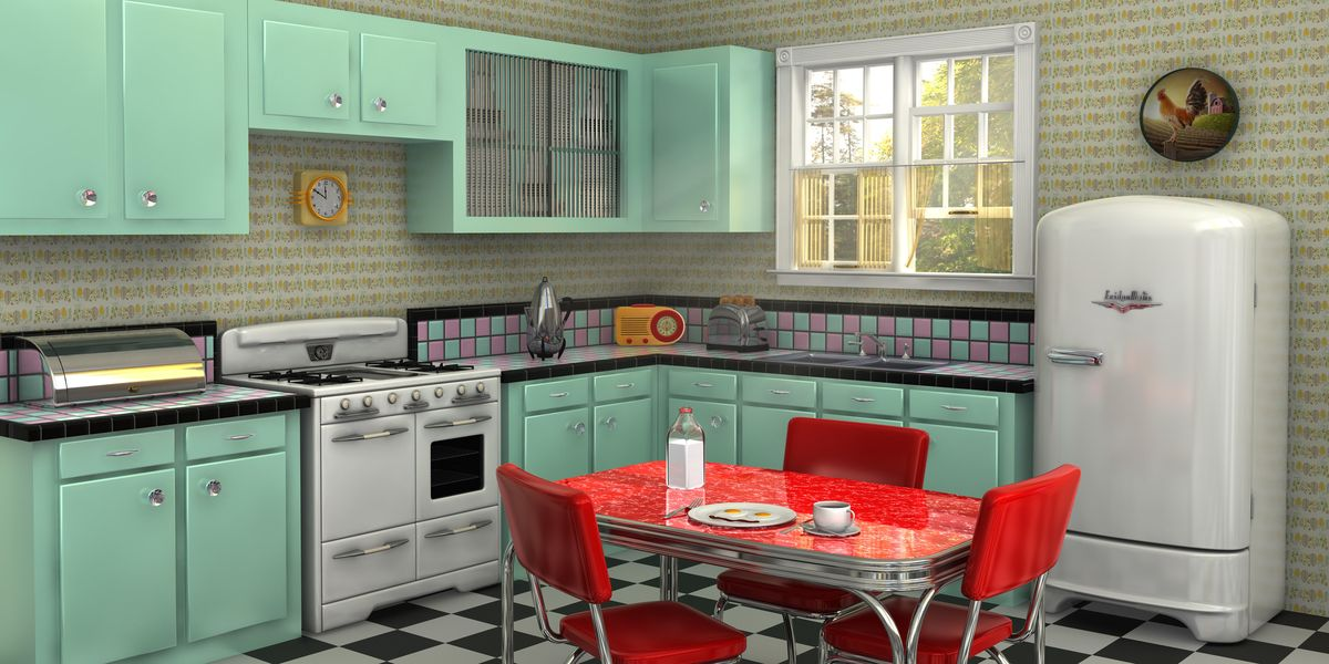 25 cool retro kitchens - how to decorate a kitchen in throwback style
