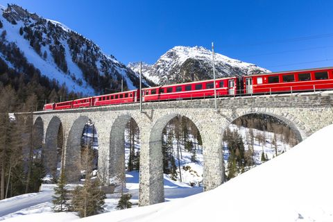 Glacier Express train on viaduct, Switzerland