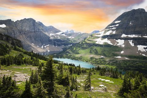 view of glacier park in the rocky mountains, montana