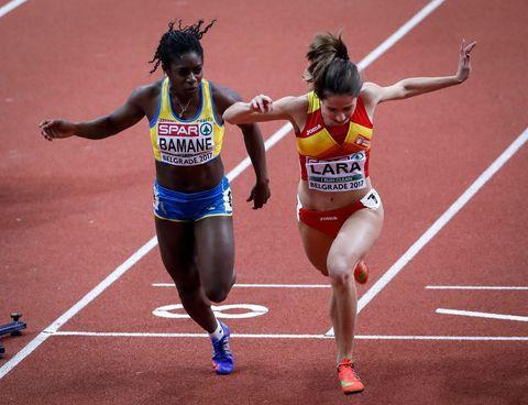 la atleta española cristina lara durante el sprint final del europeo sub 23 de 2017 en los 100 metros lisos