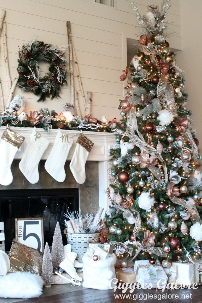 Decorated Christmas Trees Glam Metallic Farmhouse Christmas Tree