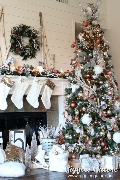 Decorated Christmas Trees Glam Metallic Farmhouse Christmas Tree