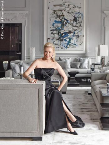 Dress, Clothing, Furniture, Shoulder, Room, Fashion, Blond, Bridal party dress, Couch, Gown,