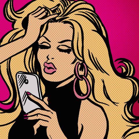 Glamorous woman text messaging using smart phone