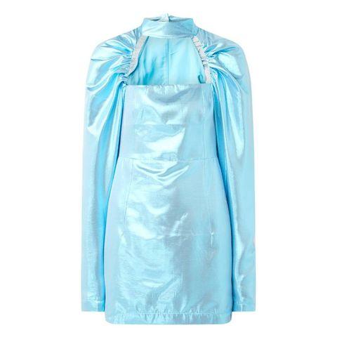 rotate kaya mini jurk met metallic finish en pofmouw