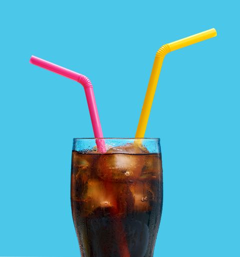 A glass of cold cola drink. Share with your friend.