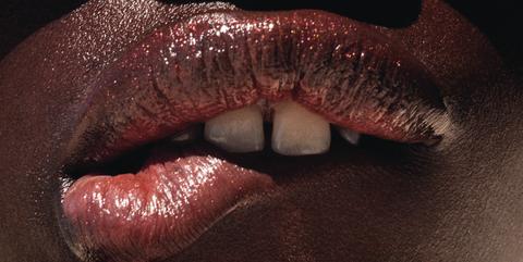 Lip, Mouth, Red, Close-up, Skin, Lip gloss, Beauty, Chin, Nose, Flesh,