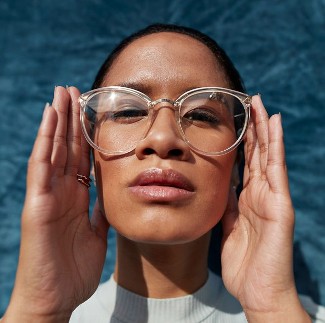 woman wearing clear glasses