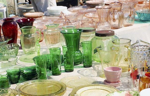 glassware for sale at flea market