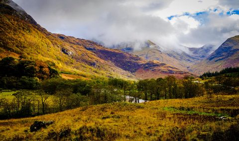 The river Nevis flowing through Glen Nevis in autumn, Highlands of Scotland