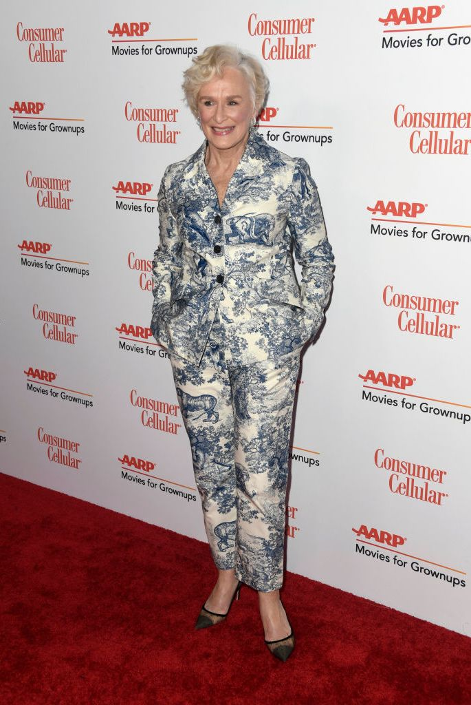 Glenn Close chose a classic blue and white toile printed suit by Dior for the AARP magazine's Movies for Grownups Awards in Beverly Hills.