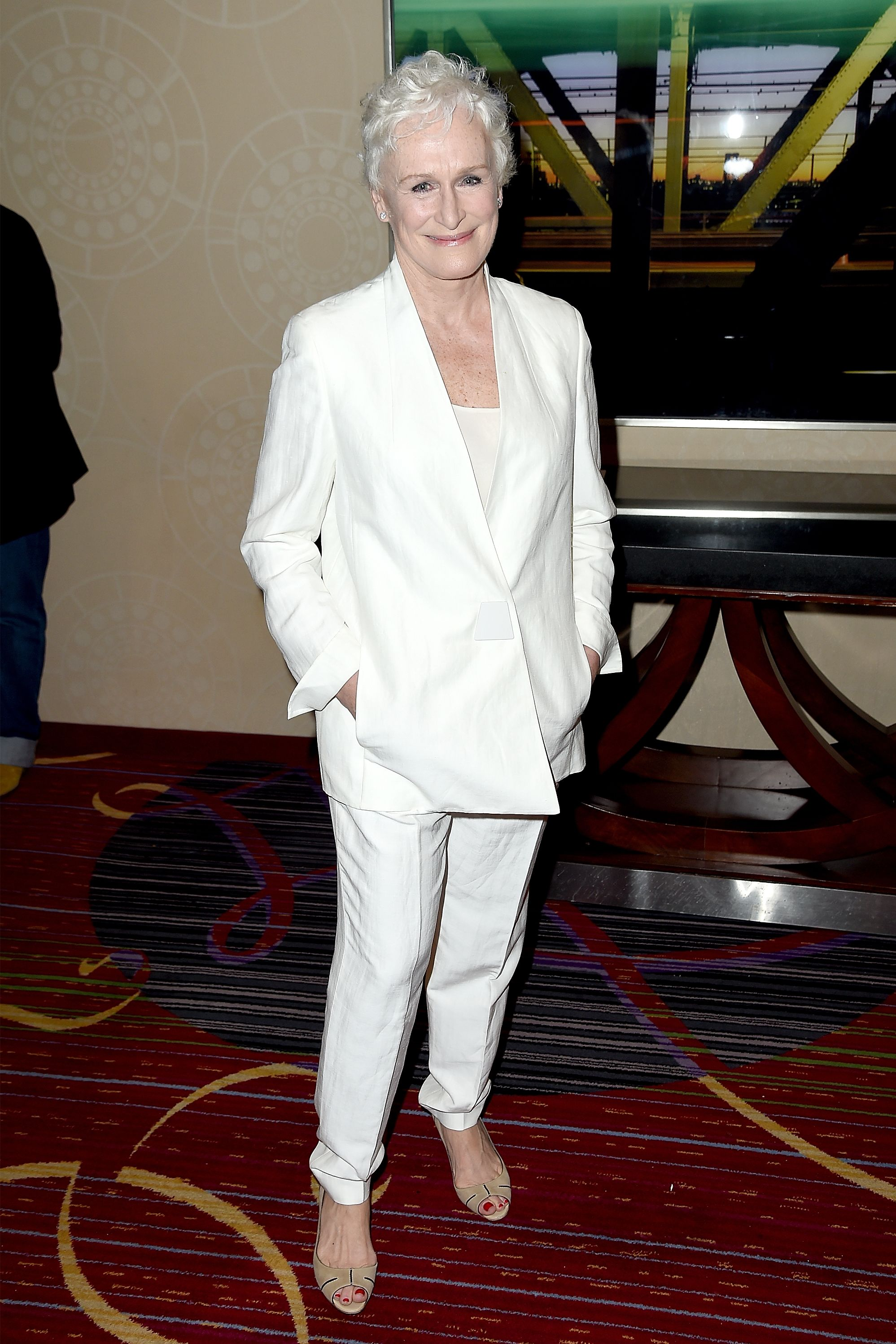 Close chose to wear a slouchy white suit and beige wedges for the Annual Drama League Awards Ceremony in New York City.
