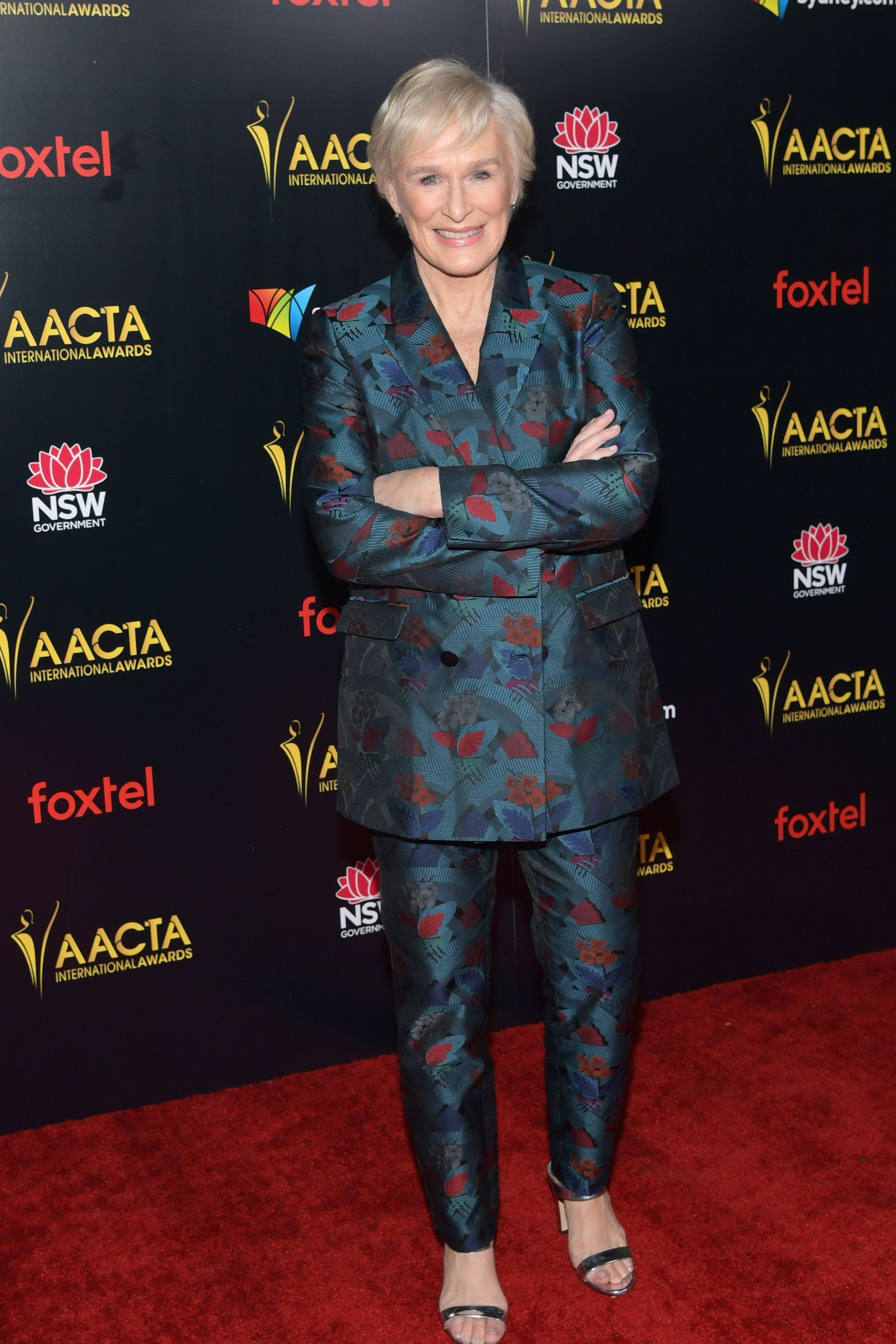 The actress struck a power pose in a turquoise printed suit and a pair of silver sandal heels at the Australian Academy of Cinema and Television Arts International Awards.