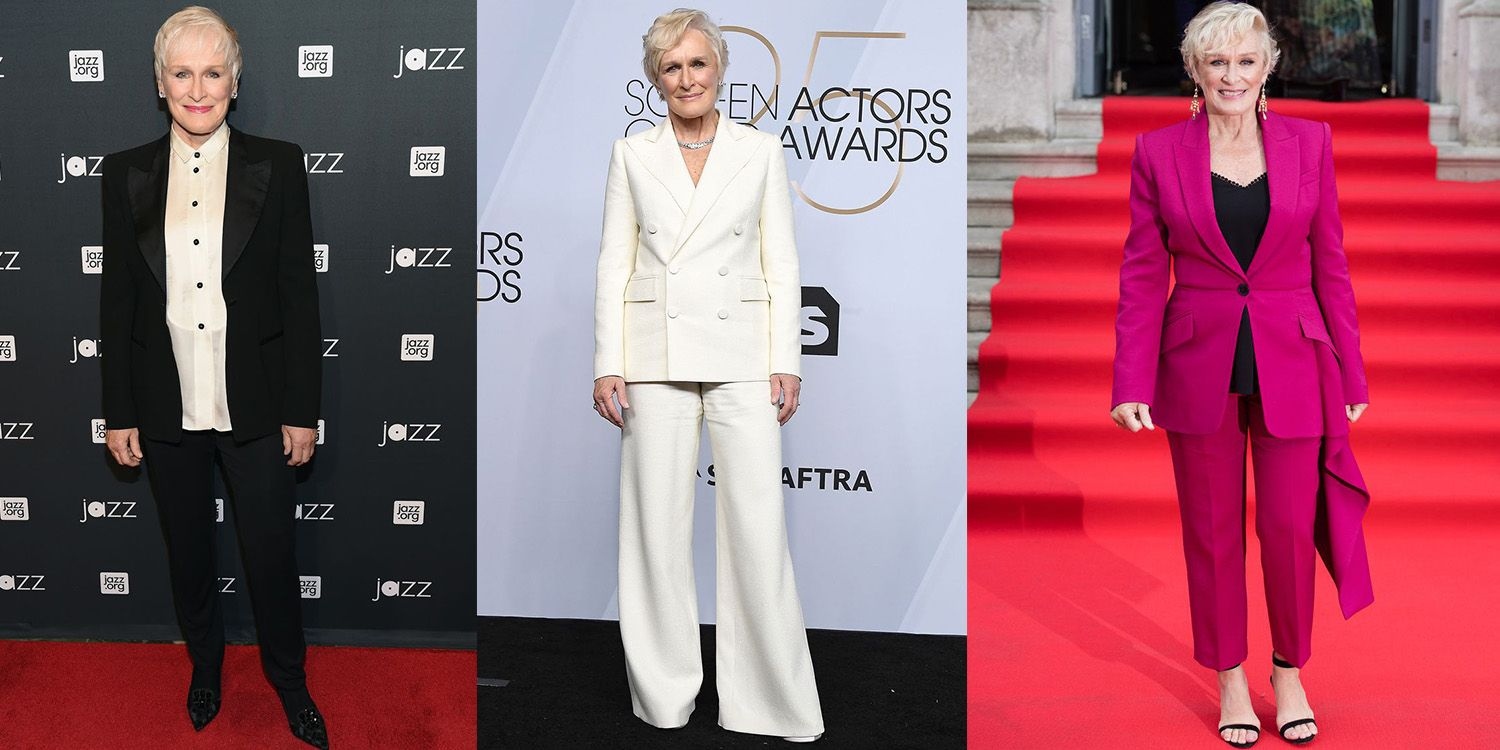 This awards season, Glenn Close has not only received numerous accolades for her performance in The Wife, but the 71 year-old actress has also been garnering praise on the red carpet for her pant suits. Over the course of her career, Close has curated a signature aesthetic by using the tailored look as her red-carpet go-to.