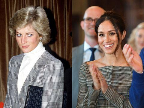 黑白灰葛倫格紋  1988 年,戴安娜穿過黑白灰色的葛倫格紋西裝。 梅根在訪問威爾士期間也穿葛倫格紋的露肩裙。