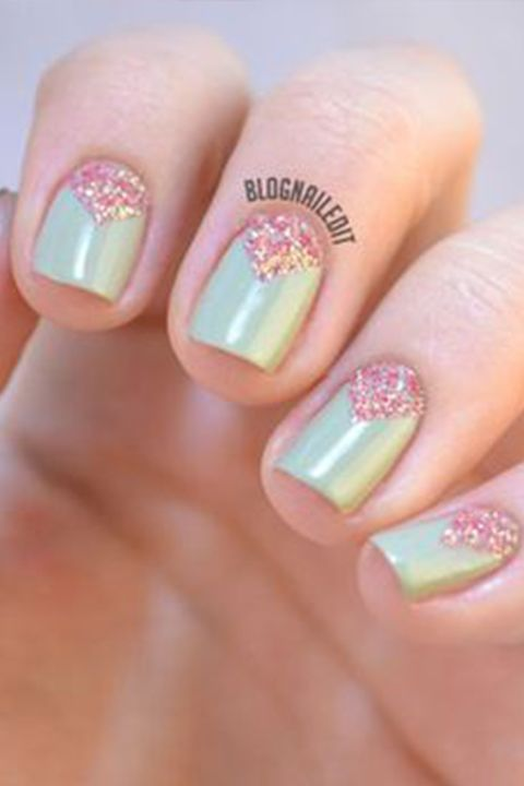 image. Nailed It. Triangular Nails - 20+ Glitter Nail Art Ideas - Tutorials For Glitter Nail Designs