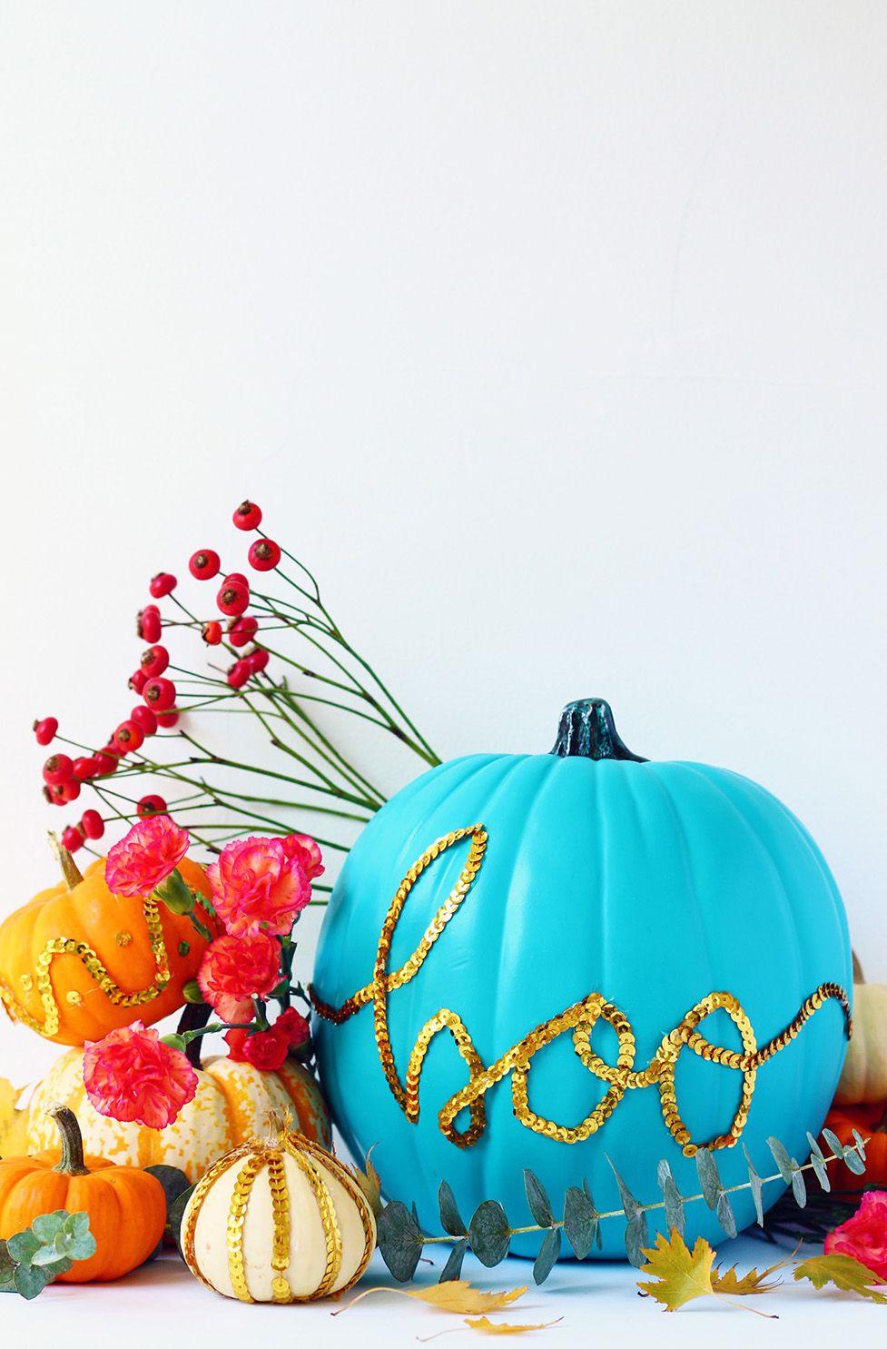 boo sequin glitter pumpkin