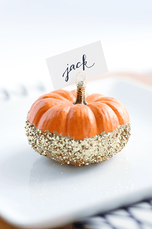 glittered pumpkin place cards