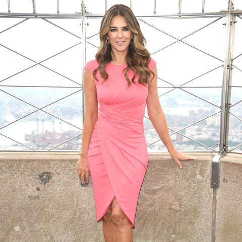 Elizabeth Hurley Visits The Empire State Building On Behalf Of The Estée Lauder Companies' Breast Cancer Campaig