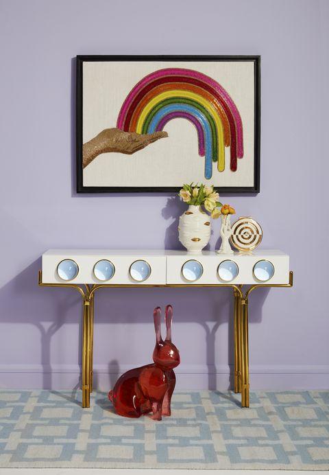 Room, Table, Furniture, Interior design, Rectangle, Art, Illustration, Magenta, Wallpaper,