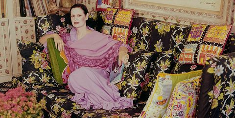 Clothing, Pink, Dress, Yellow, Fashion, Room, Retro style, Textile, Fashion design, Pattern,