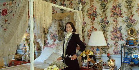 Room, Textile, Wallpaper, Bedroom, Interior design, Curtain, Bed, Dress, Furniture, House,