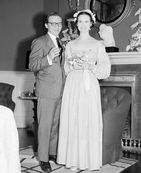 heiress gloria vanderbilt, wearing a long gown, and her husband television director sidney lumet, are shown shortly after their wedding in playwright sidney kingsley's apartment in new york city on august 27, 1956   both are 32 miss vanderbilt was formerly married to pat dicicco and leopold stokowski, both marriages ending in divorce it was lumet's second marriage ap photo