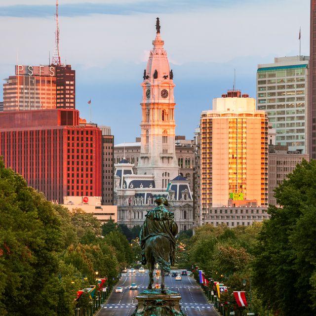 glow on city hall, philadelphia, pennsylvania, usa
