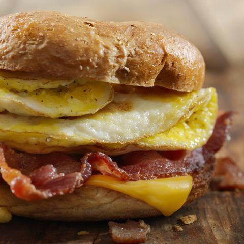 gluten free bagel, breakfast sandwich