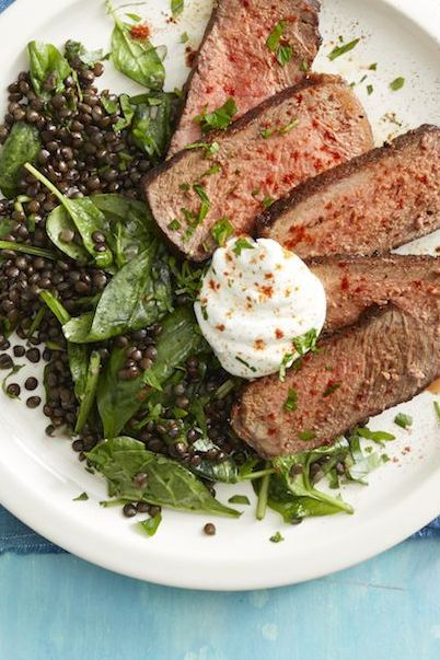 gluten-free-dinner-ideas-smoked-paprika-steak-and-lentils-with-spinach-wdy