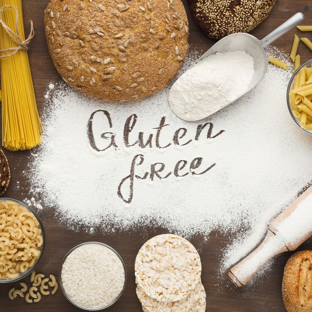gluten free inscription and various healthy products