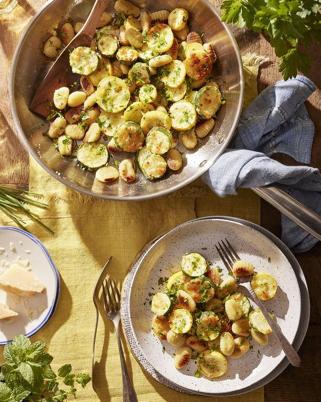 panseared gnocchi with parmesanroasted summer squash and herbs