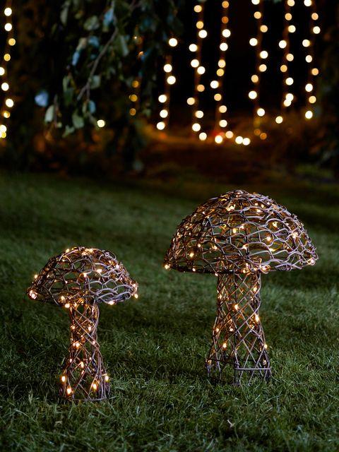 rattan mushroom garden light duo, lights4fun